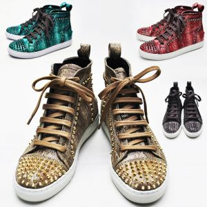Pointy Snakeskin Studs Highneck-Shoes 161