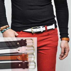 Versatile Vintage Webbing Leather Contrast-Belt 75