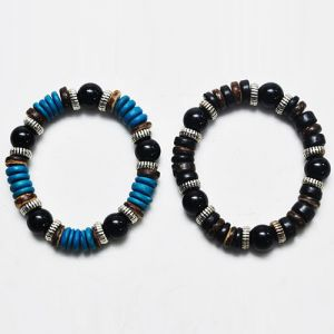 Exotic Multi Wood Elastic Beads-Bracelet 90