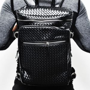 Lux Braided Multi Zipper Sqaure Backpack-Bag 114