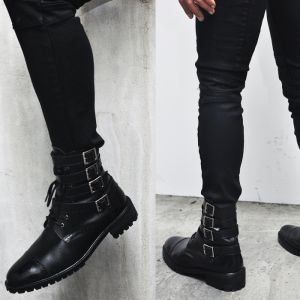Tough-chic Four Belt Zippered Biker Boots-Shoes 204