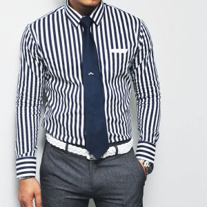Uber-sleek Slim Span Navy Stripe Dress-Shirt 101