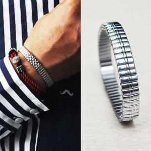 Designer Lux Polished Elastic Silver-Bracelet 108