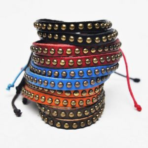 Funky Dual Brass Studs Leather-Bracelet 114