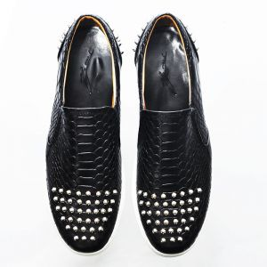 Lux Rebel Stud Custom Crocodile Slip On-Shoes 215
