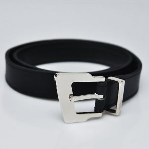 Designer's Polished Distorted Square Silver Buckle-Belt 85