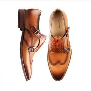 Premium Lux Crocodile Double Monk Strap-Shoes 227