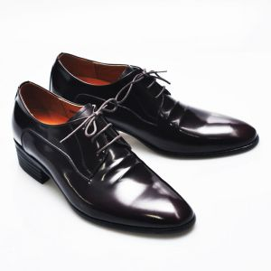Height Increasing Wine Crinkle Dress-Shoes 232