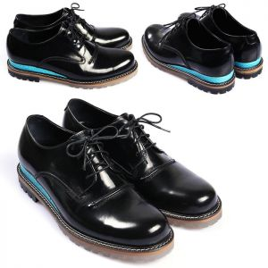 Blue Contrast Crystal Rubber Outsole Derby-Shoes 246
