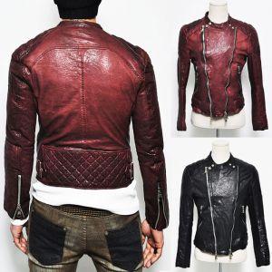 Designer Homme Seaming Crinkle Lambskin Biker-Leather 60