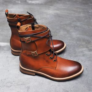 Double Buckle Strap Vanish Kipskin Boots-Shoes 252