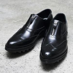 4cm Shark Sole Designer Custom Zipper Wingtip-Shoes 255