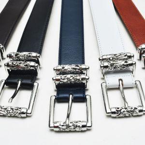 Engraved Silver Rolling Designer Cowhide-Belt 88