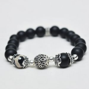 Exotic Antique Silver Charm Black Beads-Bracelet 131