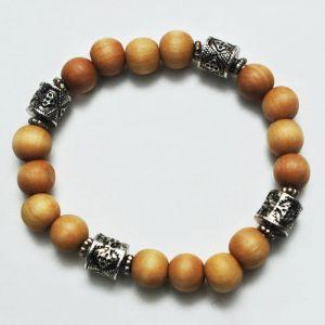 Exotic Metal Charm Wood Beads-Bracelet 132