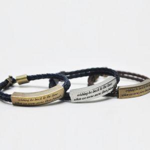 Antique Sqaure Metal Phrase Leather Dual Braided-Bracelet 135