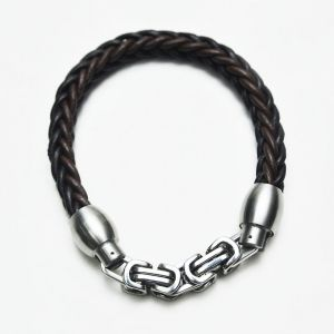 Magnetic Silver Closure Leather Braided-Bracelet 133