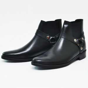 Short Harness Lux Biker Ankle Boots-Shoes 257