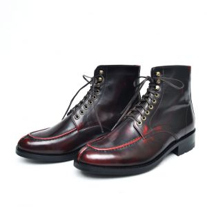 Gradation Wine Lace-up Ankle Boots-Shoes 269