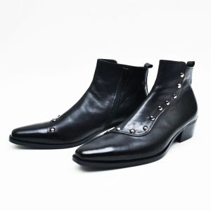 Pointy Toe Stud Zip Ankle Boots-Shoes 272