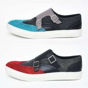 Denim Mix Color Suede Wingtip Monk Sneakers-Shoes 275