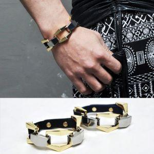 Lux Big Square Gold Chain Cuff-Bracelet 139