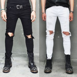 Damaged Open Knee Slim Black & White-Pants 121