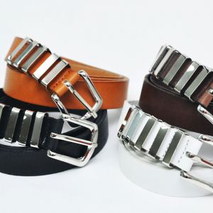 Womens Silver Buckle Loop Thin-Belt 98