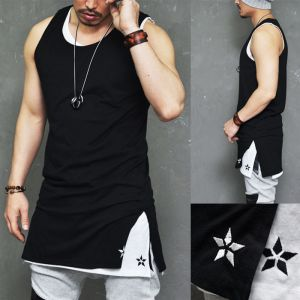 Double Star Embroidery Extended Long Tank-Tank 51