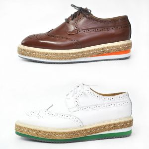 Brown White Wingtip Espadrille Brogue-Shoes 290