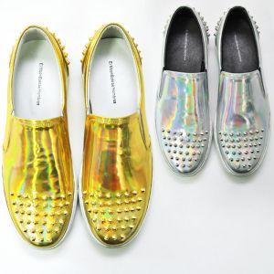Stud Toe Hologram Slipon-Shoes 295