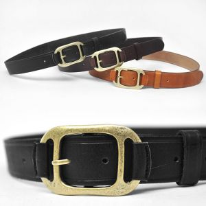 Unique Brass Buckle Classic Cowhide-Belt 101