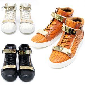 Gold Metal Bar Strap Zip High Top-Shoes 319