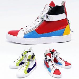 Vivid Multi Color Zip Cowhide High-Shoes 321