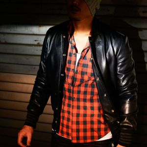 Star Patch Designer Leather Stadium Jacket-Leather 65