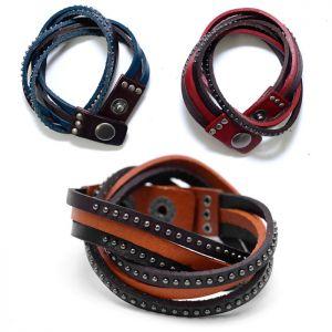 Triple Cowhide Coil Stud Cuff-Bracelet 165