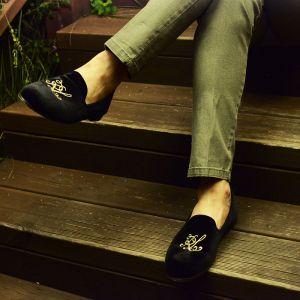 Embroidery Markus Velvet Slip On-Shoes 325