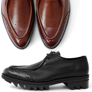 Sharp Toe Cowhide Shark Sole Oxford-Shoes 327
