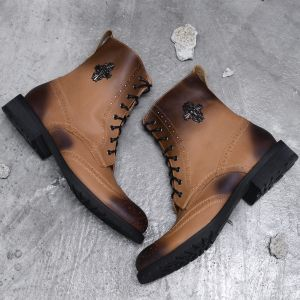 Gradation Nubuck Skull Badge Wingtip Boots-Shoes 335
