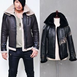 Belted Double Collar Full Sheepskin Shearling-Leather 66