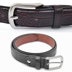 Matt Silver Buckle Lux Crocodile-Belt 113