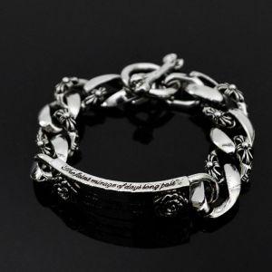 Lettering Flower Silver Chain Cuff-Bracelet 181