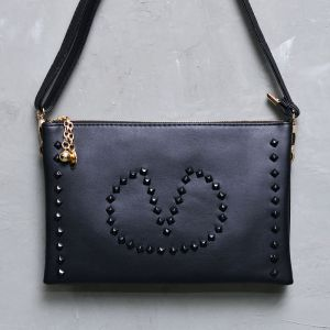 Black Stud Love Gold Ball Leather Clutch-Bag 147
