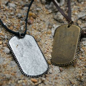 Vintage Tough Military Edge Metal Dogtag-Necklace 176