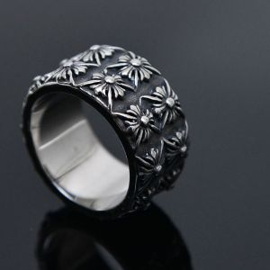 Stainless Steel Engraved Flower-Ring 40