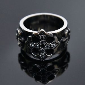 Stainless Steel Jewel Gothic Cross-Ring 42