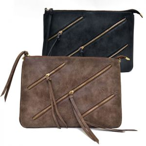 Triple Gold Zip Leather Clutch-Bag 149