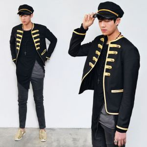 Gold Embroidery Piping Napoleon Blazer-Jacket 135