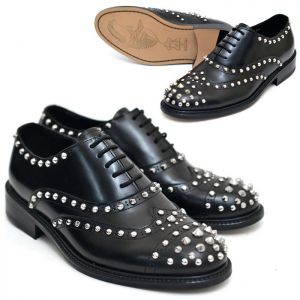 Silver Stud Custom Wingtip Brouge-Shoes 386