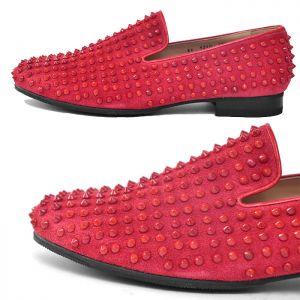 Red Suede Velvet Stud Slipon-Shoes 387